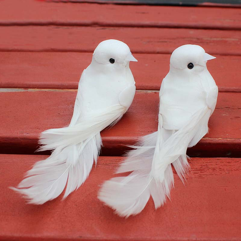 10PCS1255CM Decorative Fake Doves Artificial Foam Feather White Birds With MagnetCraft Bird