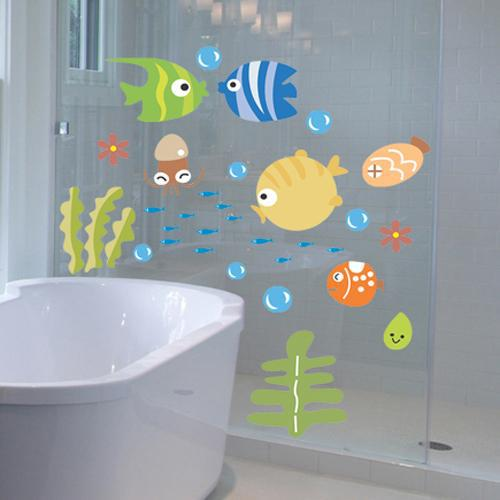 Impermeable Diy Ocean World Cartoon Fish Kids Vinilo Etiqueta de la pared Decorativo Niños Bebé Baño Nusery Calcomanías de vidrio Carteles Mural
