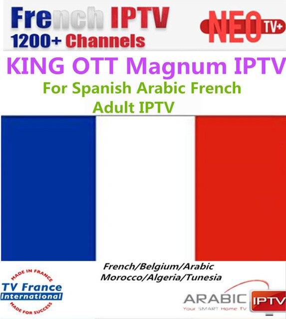 French KING OTT NEOTV IPTV 1 Year Subscription France Spain UK Portual Arabic adult IPTV Smarters Pro m3u SSIPTV Smart TV Box