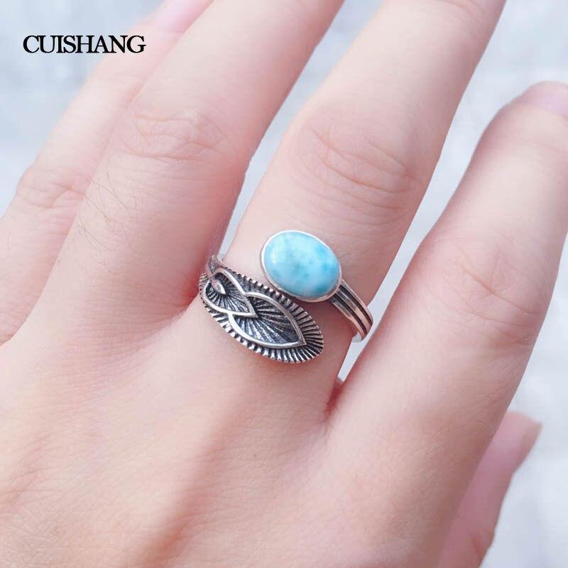 CSJ Naturel bleu Larimar anneaux sterling 925 argent Vintage Style Bijoux Mariage De Partie de Fiançailles pour les Femmes Dame Fille Cadeau