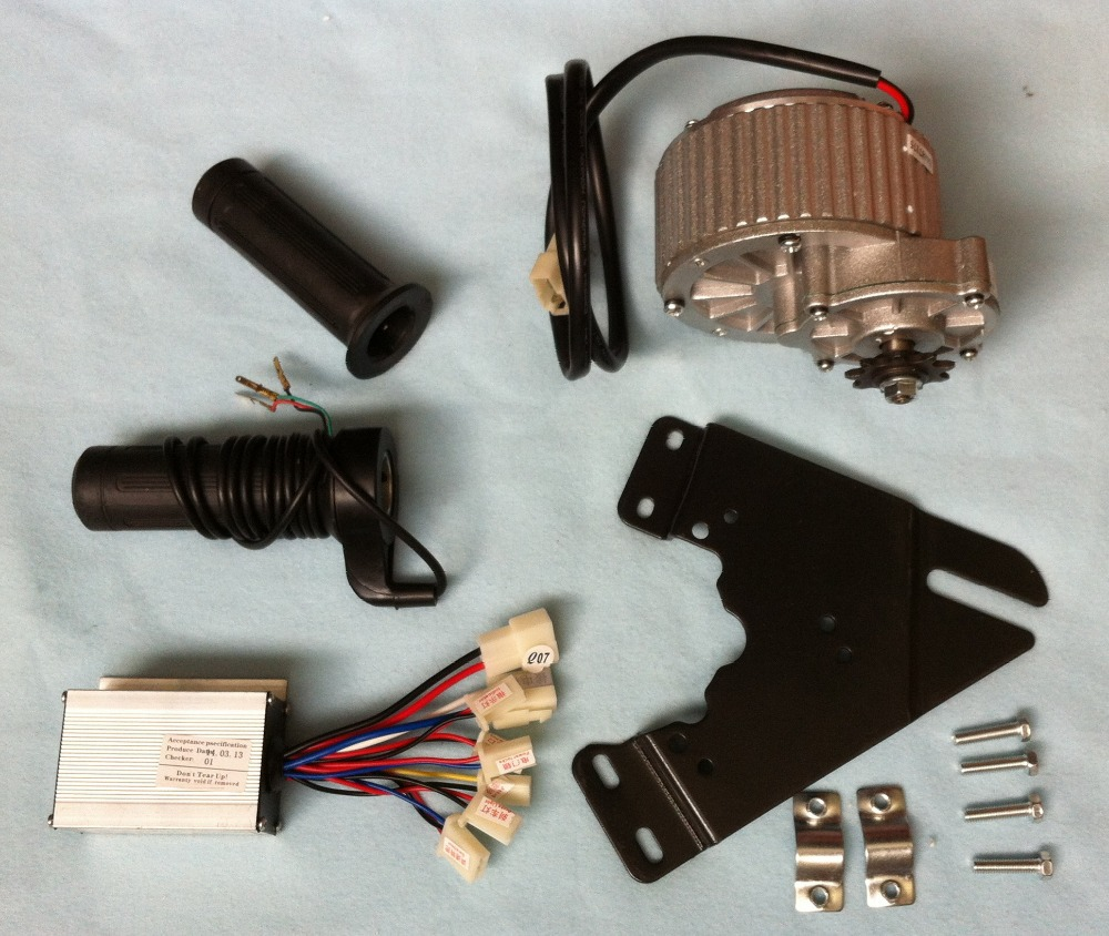 MY1018 450W 36V gear brush motor with Motor Controller and Twist Throttle, DIY Electric Bicycle Kit, my1016z2 250w 36v gear brush motor with motor controller and twist throttle diy electric bicycle kit