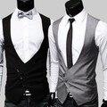 Mens Chalecos Chaleco de Alta Calidad 2016 Negro Gris Vestido Formal para Los Hombres Chaleco Traje Homme Partido Clásico Vestido Formal Para Hombre chaleco