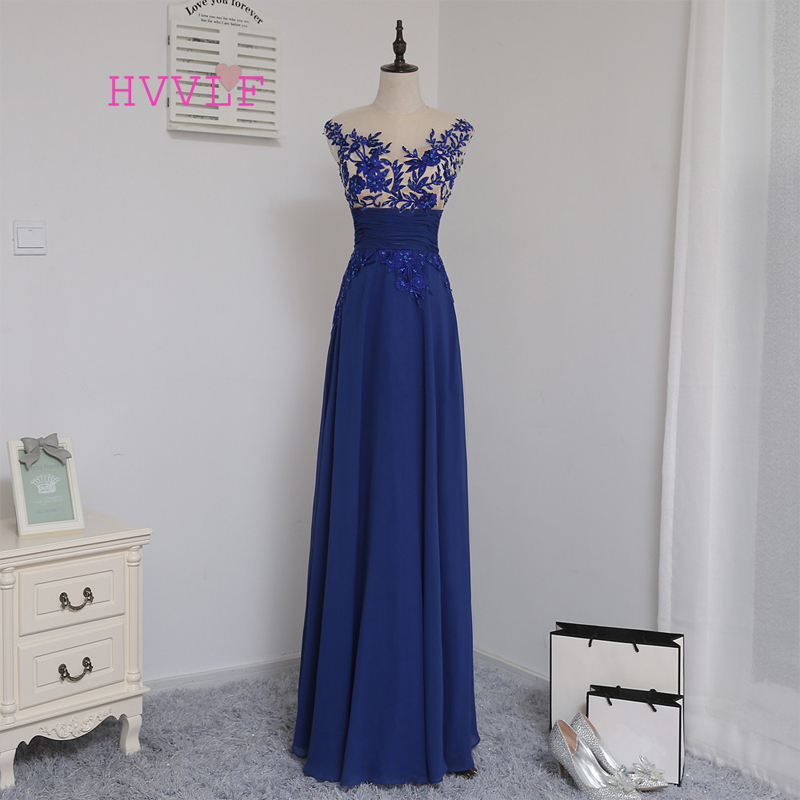 HVVLF 2018 Cheap   Bridesmaid     Dresses   Under 50 A-line Cap Sleeves Royal Blue Chiffon Embroidery Wedding Party   Dresses
