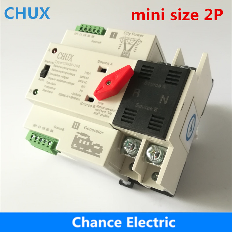 Double Interrupteur D'alimentation CXS2P-100A Mini ATS 2 p Automatique Commutateur De Transfert Électrique Sélecteur Commutateurs Rail Din Type ATS 63A 100A