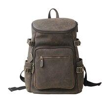 Männer der rucksack männer aus echtem leder rucksäcke umhängetaschen computer packsack mode schule reisetaschen großer kapazität