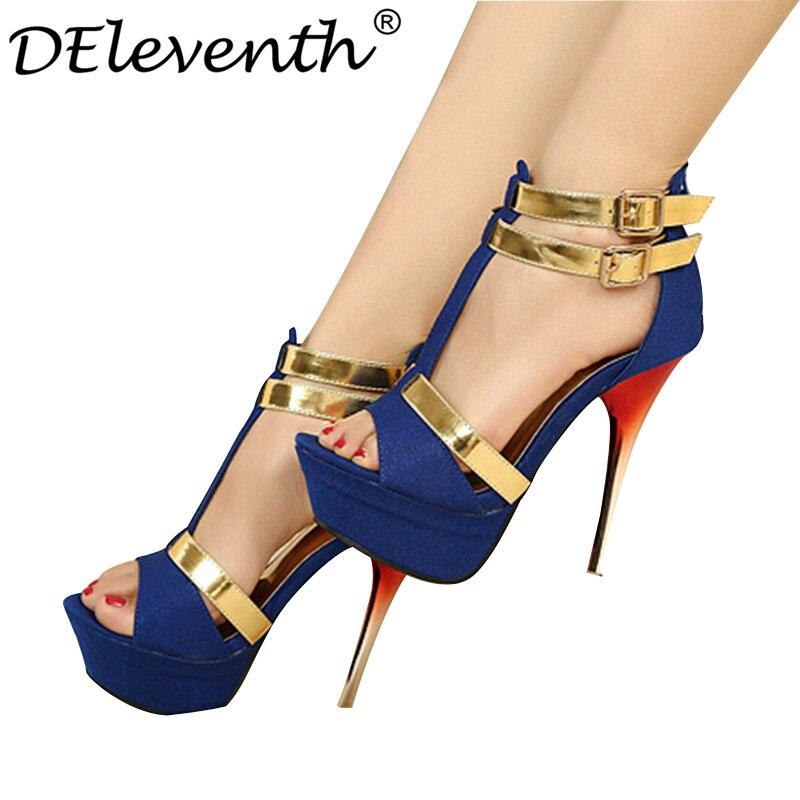 8a8b1e1a7d5 DEleventh Gladiator platform gold patch color zip high heeled sexy Stiletto  open toe sandals women shoes blue plus size shoes