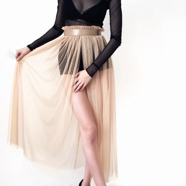 8fb643f2a0e6 Boho Gold See Through Tulle Skirts 2019 Sexy Ankle Length Women Wrap Tutu  Skirt Overskirt Overlap Saias Faldas Mujer Moda