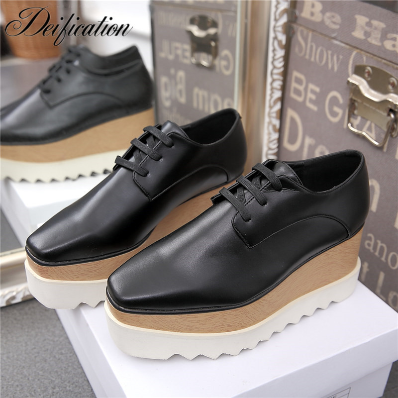 Deification Chic Design Flats Star Shape Lace-Up Women Causal Loafer Shoes Classic Stylish Leather Platform Oxford Shoes Woman