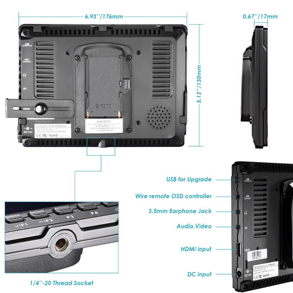 Neewer NW759 Kit Monitor Campo C/ámara:7 Ultra HD 1280x800 IPS Monitor Campo Pantalla+F550 Bater/ía Repuesto+Micro USB Cargador+Estuche Transporte para Sony Nikon Olympus Panasonic