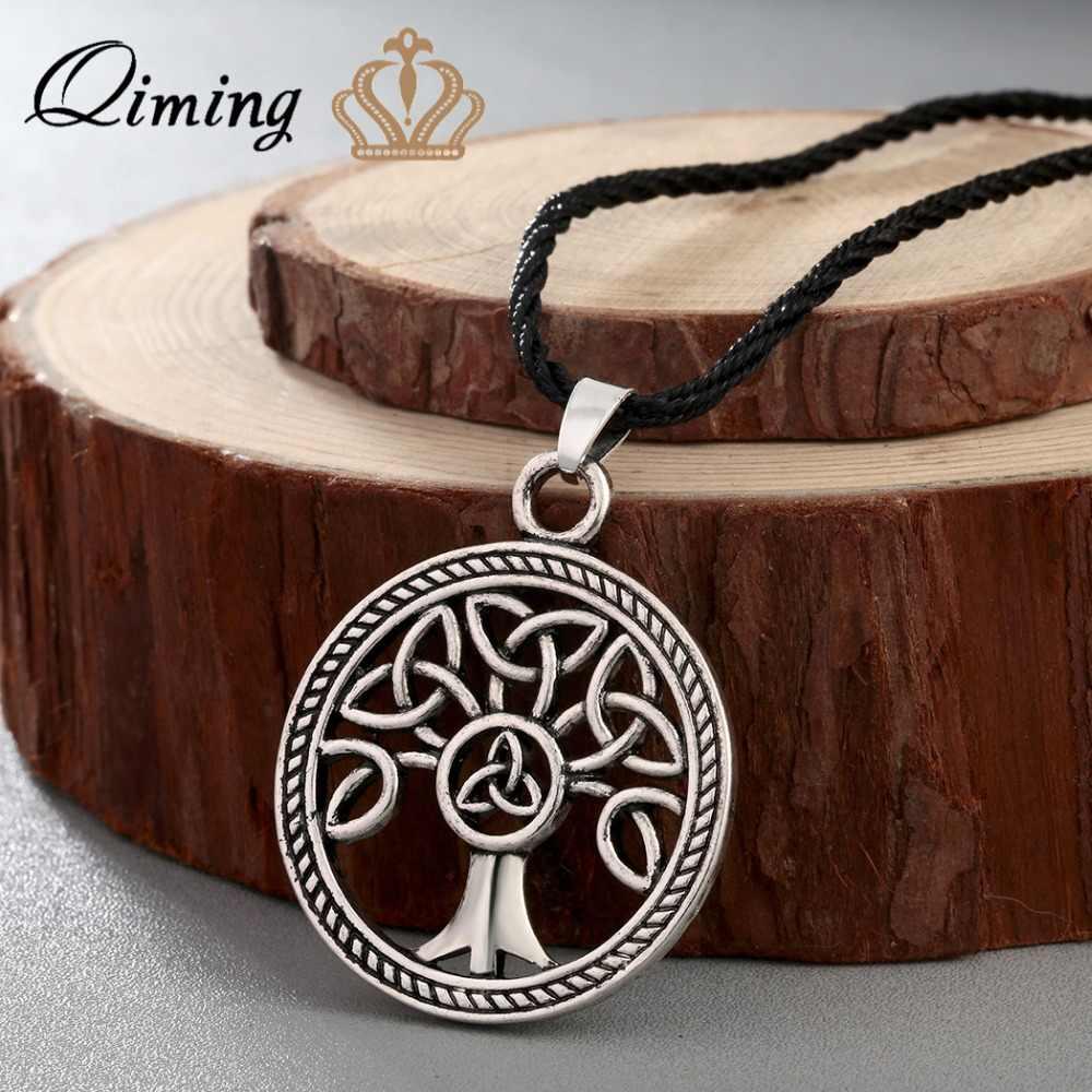 Qiming卍お守りslavicネックレス北欧バイキングジュエリー女性古代slavicシンボルお守りペンダントジュエリーメンズネックレス