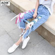 Aodibao Apparel Boyfriend Hole Jeans Woman Cool Cross straps Asymmetry Demin Pants Ladies Casual Loose Vintage High Waist Jeans
