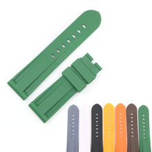 цена на CARLYWET 24mm Grey White Black Yellow Orange Brown Green Waterproof Rubber Replacement Wrist Watch Band For Panerai Luminor