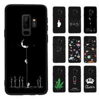 Pattern Case For Samsung Galaxy S8 S9 Plus Note 8 9 A8 A6 Plus 2018 A5 A7 2017 Black Matte Cover For Samsung 8 J4 J6 A9 S10 S10E