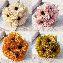 New 6 Heads Artificial Sunflowers Bouquet Leaves Party Holding Flower Home Decoration for indoor and outdoor
