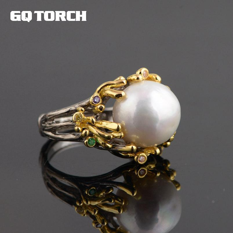 GQTORCH Genuine 925 Sterling Silver Pearl Rings For Women 18k Gold Plated Tree Branch Large Beautifully Unique Vintage Ring tree branch pearl brooch