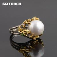 GQTORCH Genuine 925 Sterling Silver Pearl Rings For Women 18k Gold Plated Tree Branch Large Beautifully Unique Vintage Ring