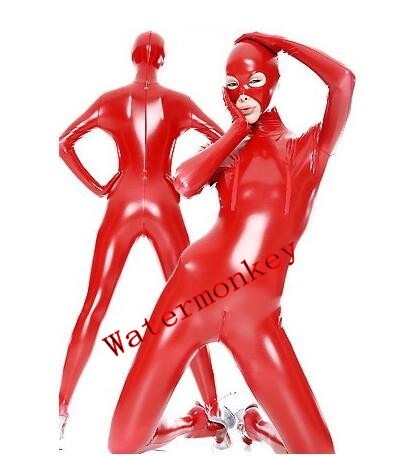 Adult Sexy Women Full Body Red Shiny PVC Suit Open Eyes And Mouth Fancy Dress Zentai Suit with Breast zipper