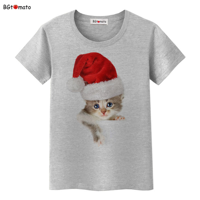 BGtomato Christmas hat little kitten t shirt women lovely pet summer new cat shirt Good quality brand casual tops cheap sale