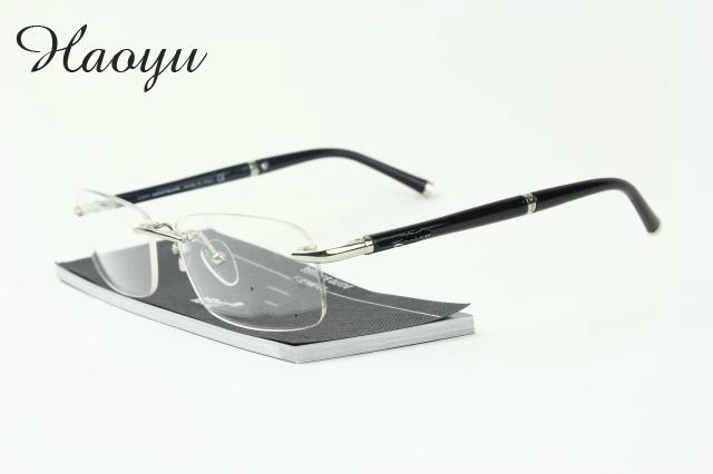 b5f9c4ff785 haoyu Titanium Glasses Frame Men Rimless Eyeglasses high quality brand fold  optical myopia Frameless Prescription Glasses mb0347