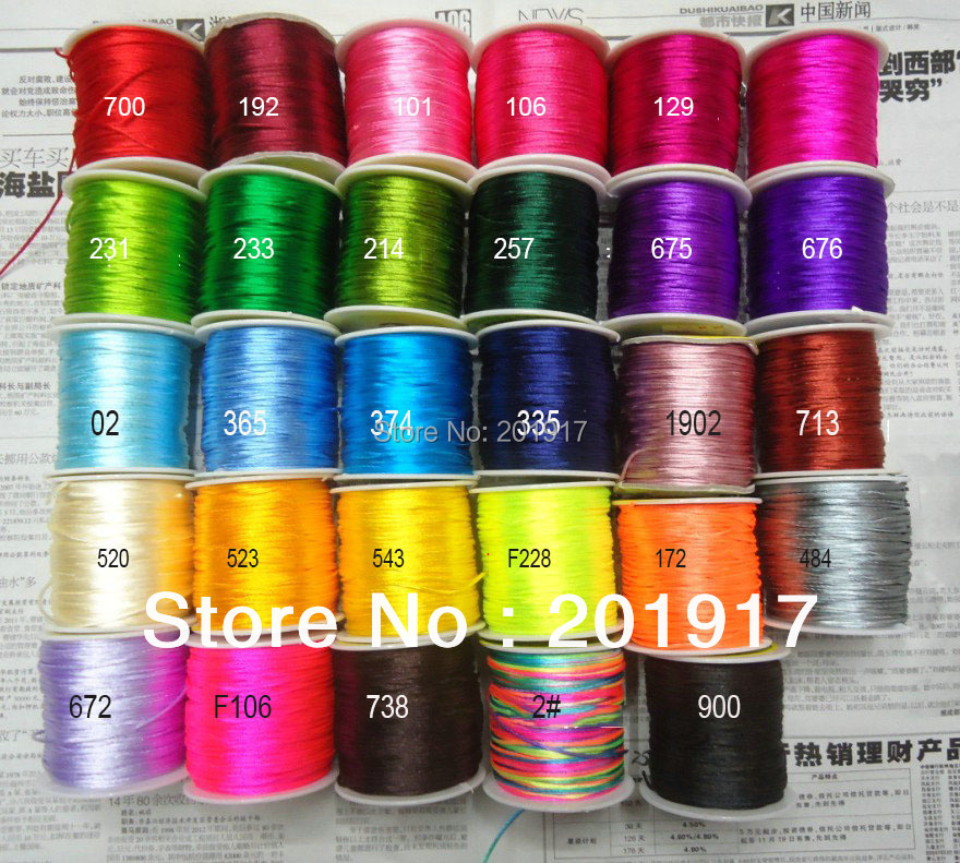 100%Nylon!1.5mm Macrame Shamballa Rope Cords-800m/10rolls (48colors for choose)Chinese Knot String Beading cord-Jewelry DIY
