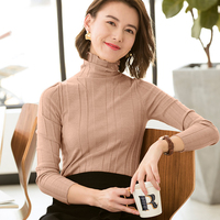 Merino Wool Sweaters and Pullovers for Women Turtleneck and Long Sleeve Slim Stripe Spring Autumn Winter Female Brand Jumpers