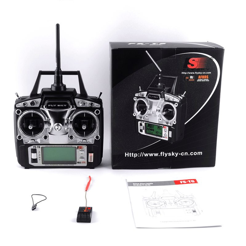 Flysky FS-T6 FS T6 6ch 2.4g w/ LCD Screen RC Transmitter + FS R6B Receiver For Heli Drone Quadcopter Airplanes gartt flysky fs t6 fs t6 2 4g digital 6 channels transmitter