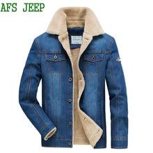 AFS JEEP Men thick Very warm cowboy Soft coat men jacket high quality Multi-pocket Plush Cotton jacket men parka Coat men 135