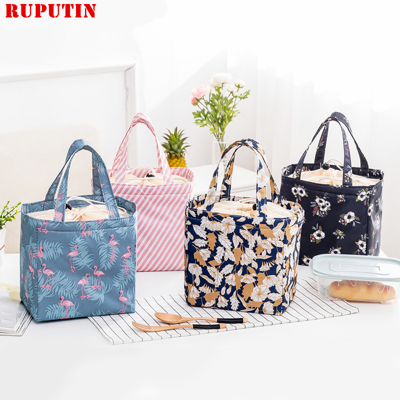 лучшая цена RUPUTIN Fresh Insulation Lunch Bag For Women Student Kid Thermal Insulated Oxford Picnic Food Cooler Box Tote Storage Ice Bags