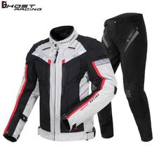 GHOST RACING Summer Motorcycle Jacket+Motorcycle Pants Racing Suit Protective Gear Armo Hip Protector Moto Clothing