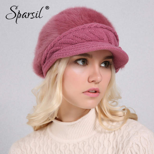 f4381e9caff46 placeholder Sparsil Women Winter Rabbit Fur Hat Knitted Wool Berets Fleece  Warm Casual Cap Bow-Knot