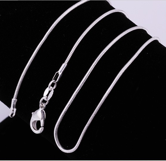 Silver Plated Snake Chain Necklace Silver color Round Snake Necklaces 1mm 16 30 inch 100pcs lot