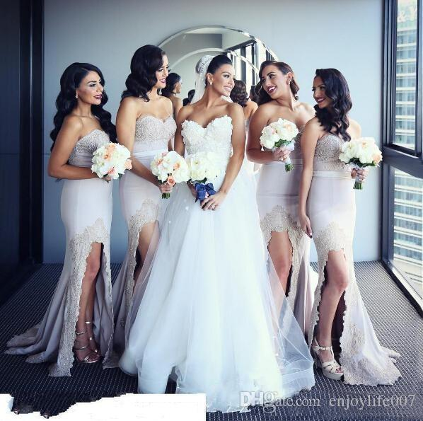 2017 Sexy Split Mermaid font b Bridesmaid b font font b Dress b font Sweetheart Lace