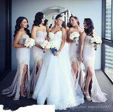 2017 Sexy Split Mermaid Bridesmaid Dress Sweetheart Lace Applique Floor Length Maid of the Honor Dress Wedding Party Gowns BD209