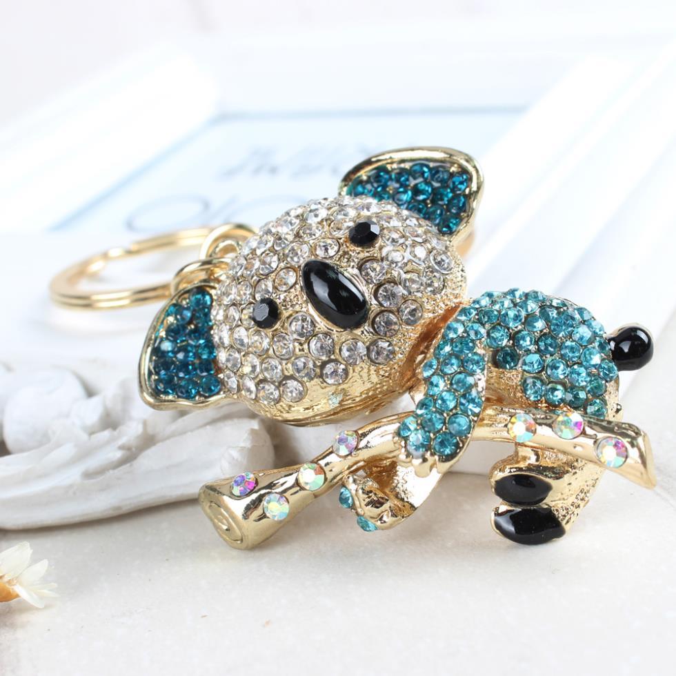 Cute Koala Blue Bear Tree Pendant Charm Accessories Rhinestone Crystal Purse Bag Car Key Ring Chain Creative Jewelry Gift