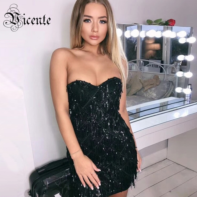 Vicente HOT Trendy Sequins Tassels Mini Dress Sexy Strapless Sleeveless Wholesale Celebrity Party Club Wear Black Dress
