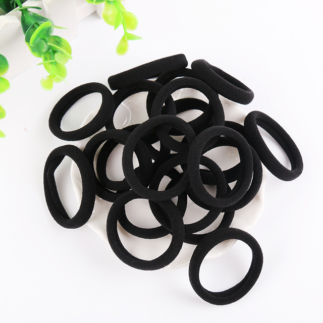 20 PCS Black Women Elastic Cloth Hair Bands Scrunchie Hair Tie Ring Rope Girls Ponytail Holder Headwear Accessories