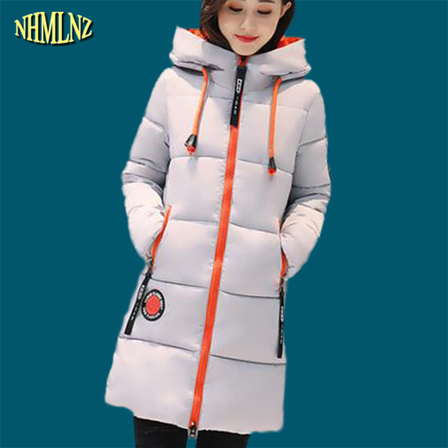 2017  Fashion Winter jacket Long section Warm Women Cotton coat Long sleeve Hooded Solid color Women Outerwear plus size WK203