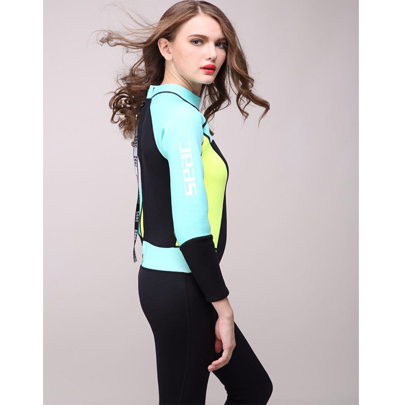 One-piece Women's 3mm Neoprene Long Sleeved and Warm Wetsuit  Diving Suit Swimming Suit  Diving Suit