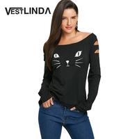 VESTLINDA Women T Shirts Casual Autumn Cat Clothes Womens Tops Cat Face Print Long Sleeve Ripped
