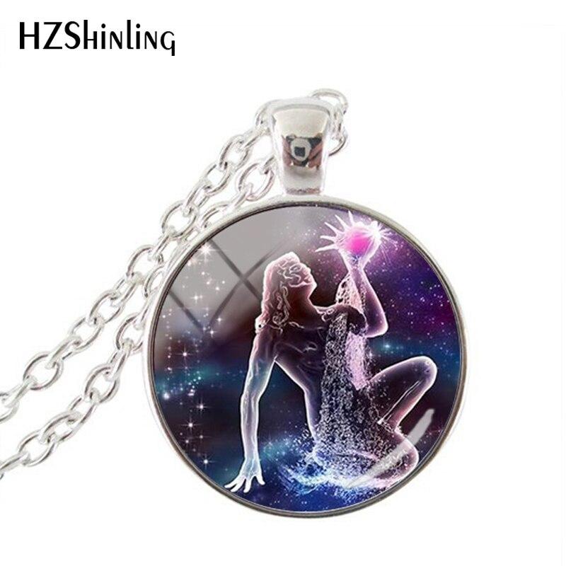 Fashion Purple Galaxy 12 Horoscope Scorpio Sagittarius Capricorn Aquarius Pendant Fashion Necklace Glass Dome Jewelry Gift(China)