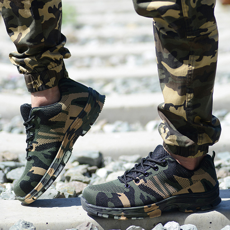Image 5 - Camouflage Steel Toe Shoes Men Work Boots Breathable Work Safety Shoes for Man Steel Puncture Proof Construction Safety BootsWork & Safety Boots   -