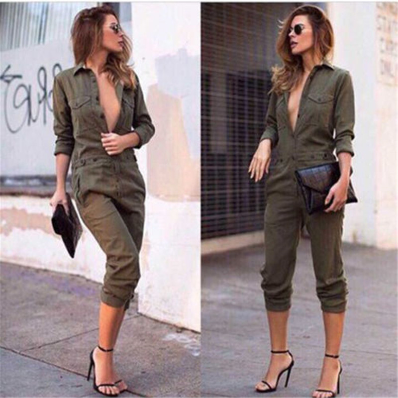 1bd627c18a0 Sexy Women New Fashion Slim Bodycon Jumpsuit Long Sleeve Army Green Solid  Casual Bodysuit Ladies Vintage Romper Long Jumpsuit-in Jumpsuits from  Women s ...