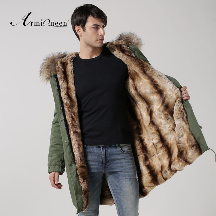 New Arrival 2016 fashion Natural fur collar coat army green big yards long jacket men