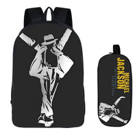 2PC Set With Pencil Case Student Backpacks Female DIY Michael Jackson Printing Children SchoolBags For Boys