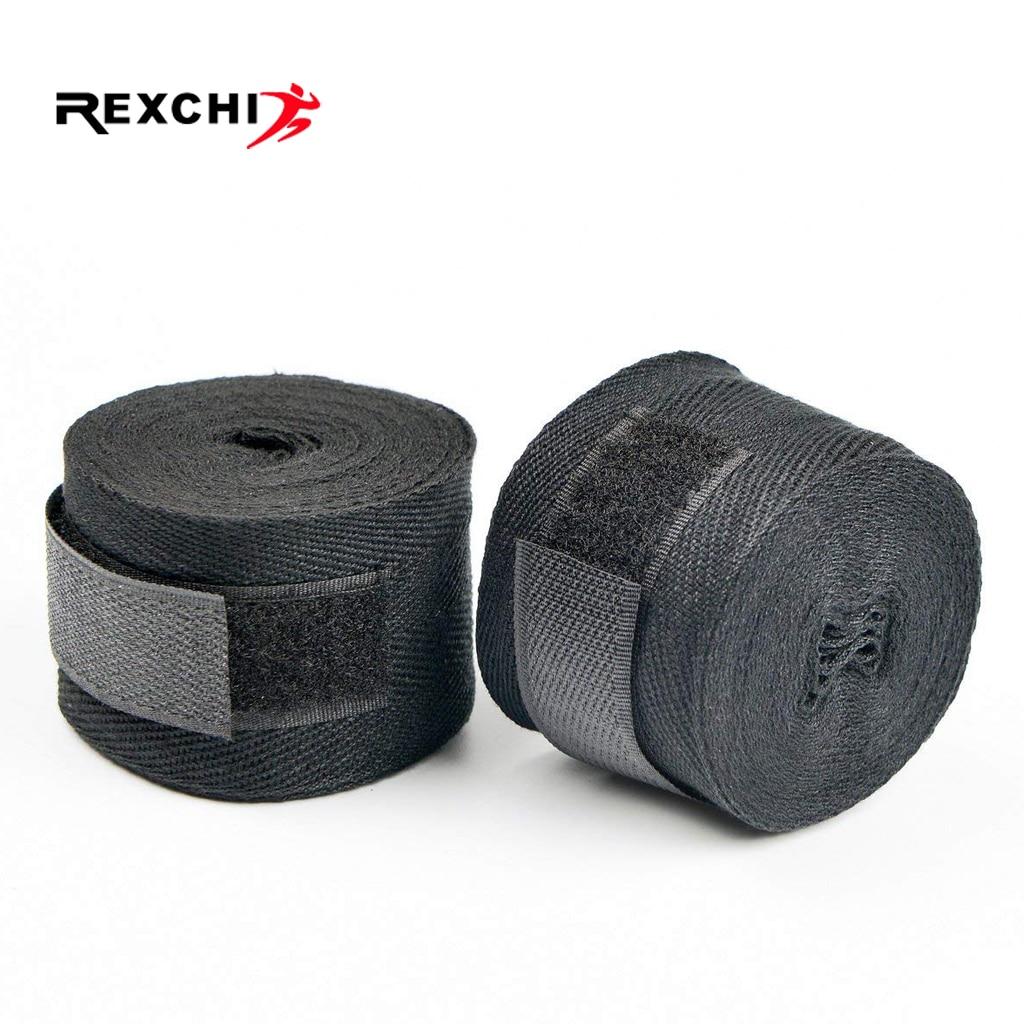 REXCHI 1 Pair Cotton Kick Boxing Bandage For Men Women Sanda Taekwondo Muay Thai Guantes De Boxeo MMA Wrist Straps Equipment