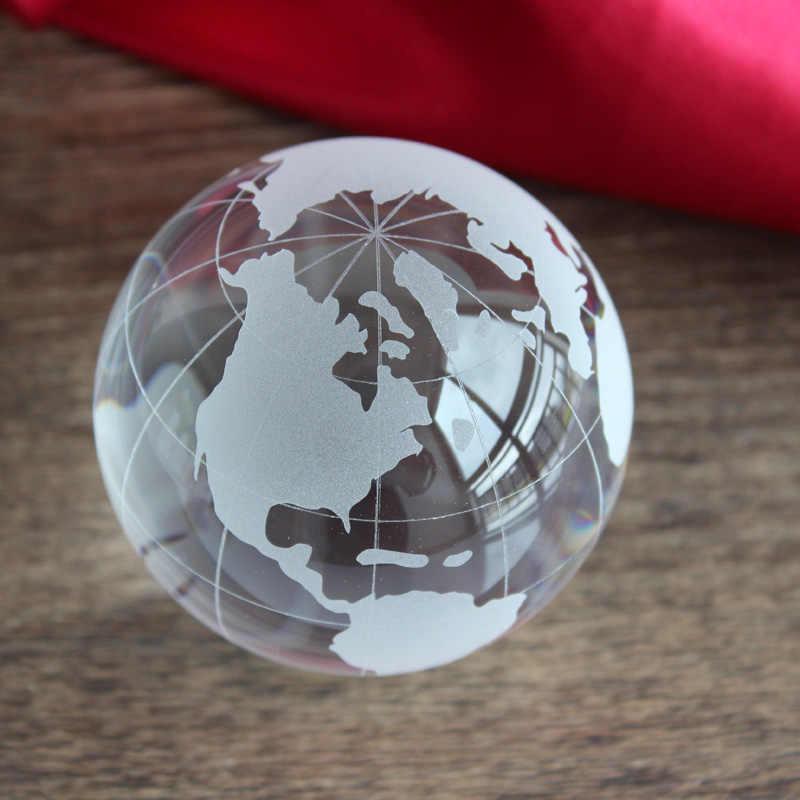 XINTOU Crystal Gl Globe world map Ball Handmade 60 mm Feng shui decorative on