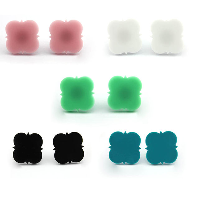 Monogram Jewelry 16mm Post Earrings Mint Acrylic Clover Disc Blank Stud For Women Round