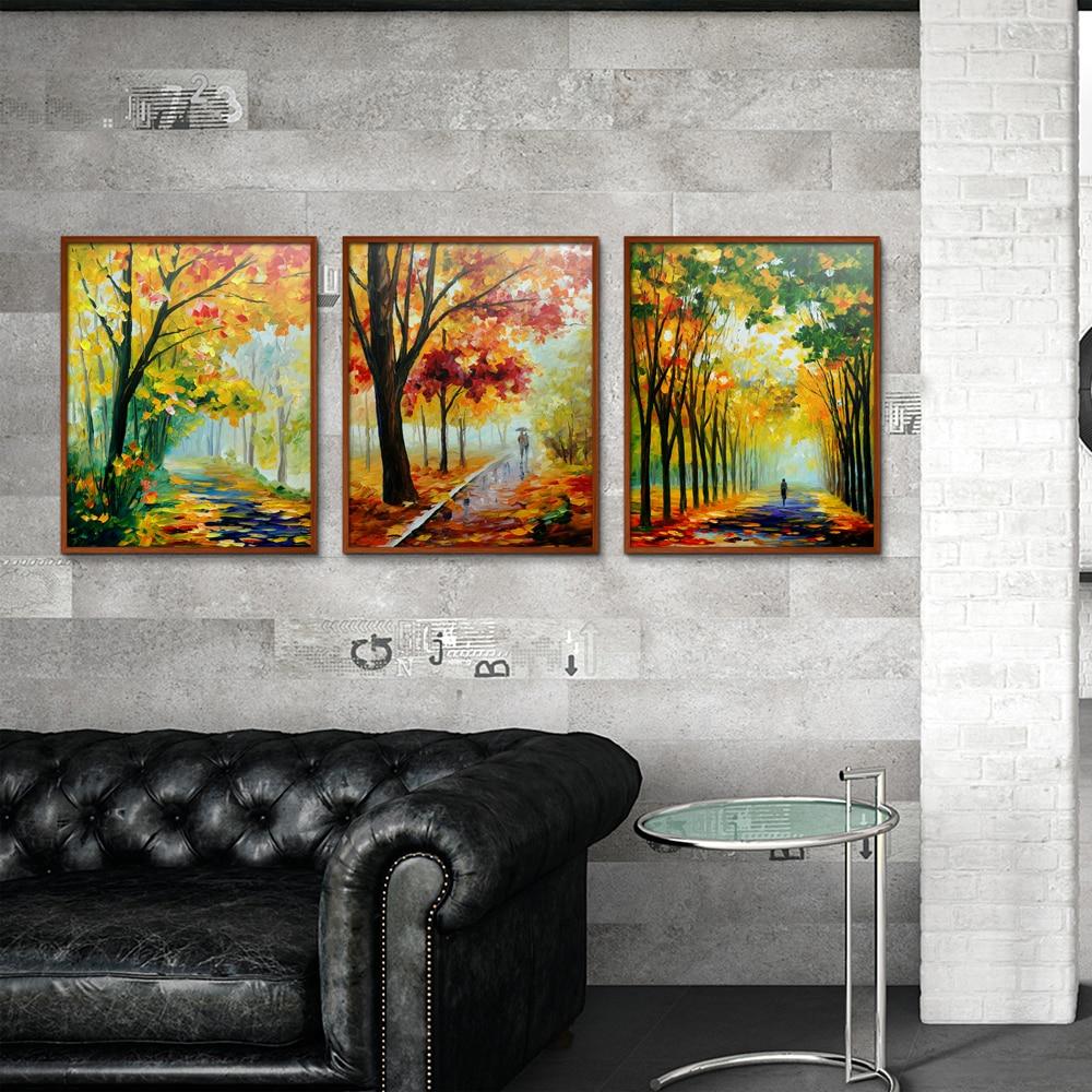 Дождь парк bench любителей уличный фонарь леса пейзаж Европа спрей холст Безрамное масляной живописи Декор дома, рисование Книги по искусству...