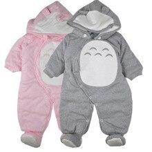 Nouveau-né Vêtements bébé barboteuses d'une seule pièce épaisse capuche chaud en automne hiver barboteuse animale style Totoro pour fille garçon