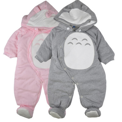 Roupas bebê recém-nascido rompers one-peça com capuz grosso quente no outono inverno romper estilo animais Totoro para o menino menina
